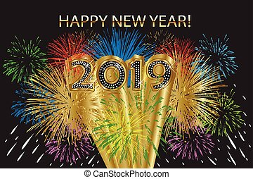2019 glückliches neues Jahr mit Feuerwerk.