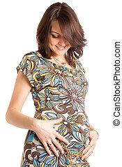 21 Wochen glückliche Schwangere