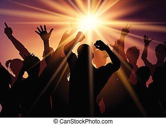 2308, sunburst, hintergrund, crowd, party