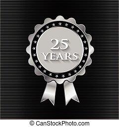 25 Jahre Silberband mit Sternen. Grafikdesign