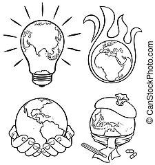 3, ökologie, kunst, linie, begriffe