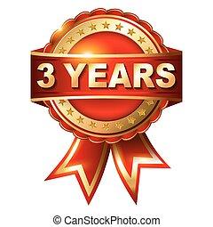 3 Jahre Garantie Goldene Etikette mit Band.