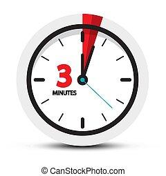 3 Minuten Ikone. Augen auf, drei Minuten Symbol.