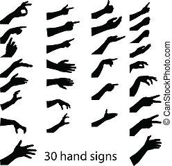 30 Hände Silhouetten