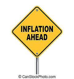 3d Abbildung des gelben Straßenschilds der Inflation vor.