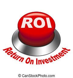 3d Abbildung von roi (Return on investment) Button.