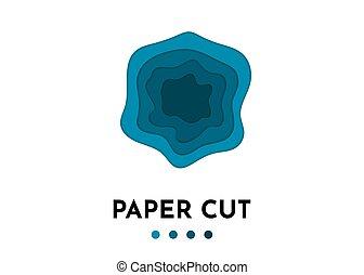 3D abstrakter Blue Wave Hintergrund mit Papierschnittformen.