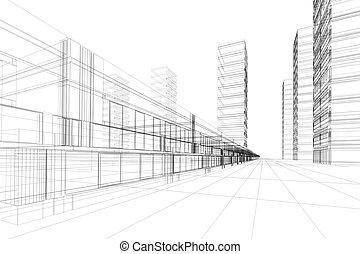 3D Architektur abstrakt