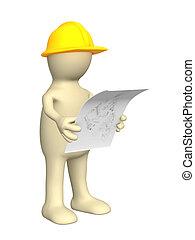 3D Bauarbeiter mit Skizze