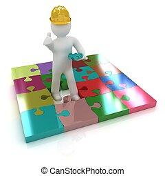 3D Bauarbeiter und Rätsel