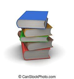 3d, books., geleistet, illustration., stapel