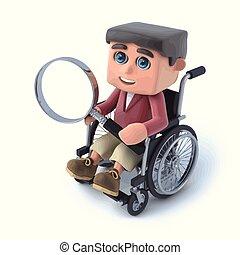 3d Boy im Rollstuhl, der durch Vergrößerungsglas schaut.