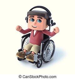 3d Boy im Rollstuhl hört auf seine Kopfhörer.