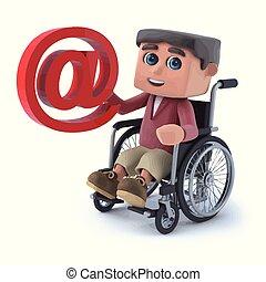3d Boy im Rollstuhl hat eine E-Mail-Adresse.