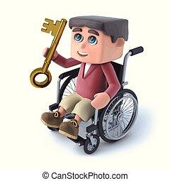 3d Boy im Rollstuhl hat einen goldenen Schlüssel.