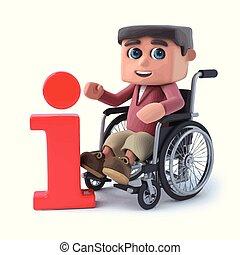 3d Boy im Rollstuhl hat Informationen.