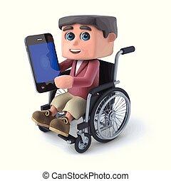 3d Boy im Rollstuhl mit einem Smartphone.