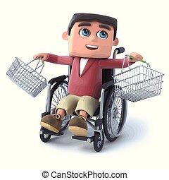 3d Boy im Rollstuhl mit leeren Einkaufskörben.