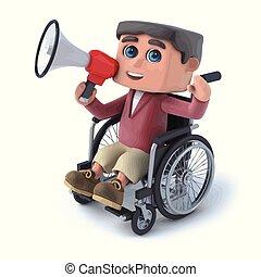 3d Boy im Rollstuhl spricht über Megaphon.
