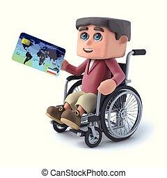 3d Boy im Rollstuhl zahlt mit einer Debitkarte.