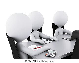 3d Business-Leute in einem Büro-Treffenraum.