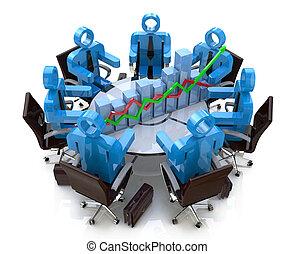 3d Business-Leute in einem Meeting an einem runden Tisch und Finanzdiagramm - Diagramm.