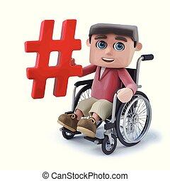 3d Cartoon Boy im Rollstuhl mit einem Hasch-Tag-Symbol.