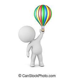 3D Charakter mit kleinem Heißluftballon