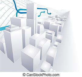 3D-City konzeptioneller abstrakter Hintergrund