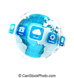 3d Erde mit Anwendungen Icons.