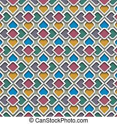 3d farbiges, nahtloses Muster im islamischen Stil
