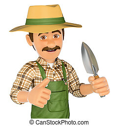 3D Gardener mit kleinem Spade