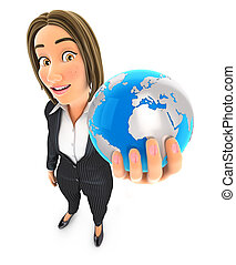 3D Geschäftsfrau mit blauer Erde.