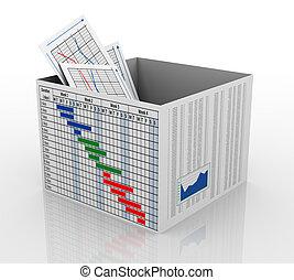 3D Geschäftskarten in der Kiste