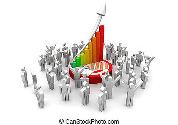 3d Geschäftsleute mit Finanzgrafik.