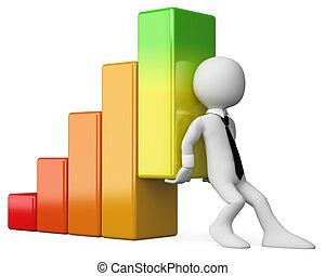 3D Geschäftsleute, Weiße. Economy Bar Graph