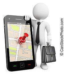 3D Geschäftsleute, Weiße. Handy mit GPS