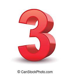 3D glänzende rote Nummer 3.