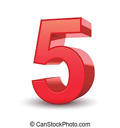 3D glänzende rote Nummer 5.
