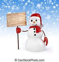 3d glücklicher Schneemann mit einem Holzbrettschild auf Schneeflocken Hintergrund.