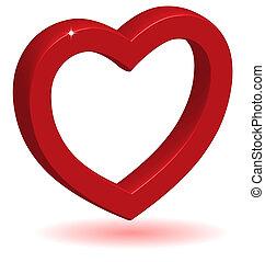 3D Glühbirnes rotes Herz mit Schatten