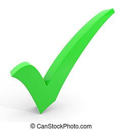 3D-Grüne Checkmark auf weißem Hintergrund.
