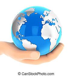 3D Hand mit blauer Erde.