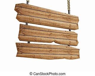 3d Holzzeichen mit Brettern