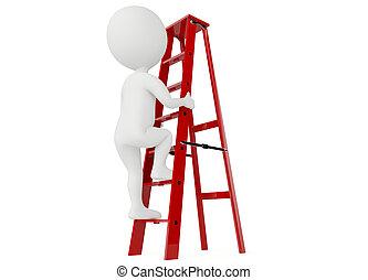 3D humanoide Figur auf einer roten Leiter