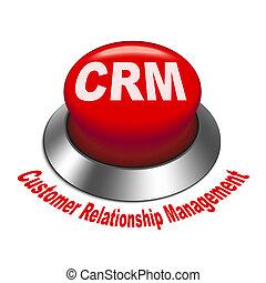 3d Illustration von crm (Customer Relationship Management) Knopf isoliert weißer Hintergrund.