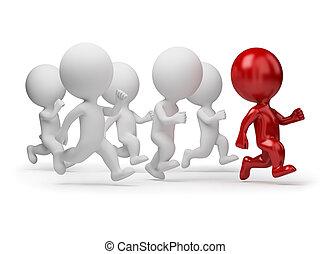 3d kleine Leute - Anführer des Rennens