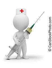 3d kleine Leute - Arzt mit Spritze