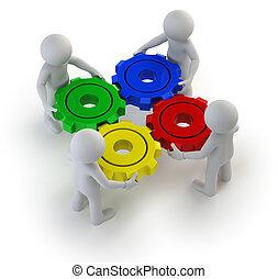 3d kleine Leute - das Getriebe drehte sich