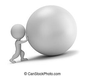 3d kleine Leute - drückt den Ball